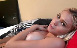 Allure blonde ex gf Marsha May stretches her wet pussy nicely