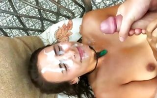 Slutty ex girlfriend takes bukkake facial cumshots in amateur porn