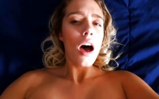 Pretty girlfriend Athena with round tits deeply sucking dick