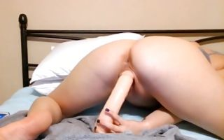 Pretty adorable brunette college girl fucks her holes with a dildo