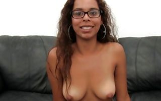 Cute Ebony girlfriend Maddey has rough anal sex on sofa