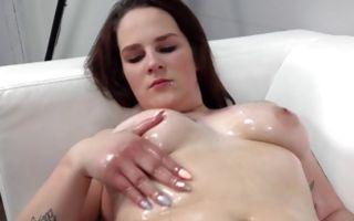 Nasty brunette ex-girlfriend Michaela making blowjob