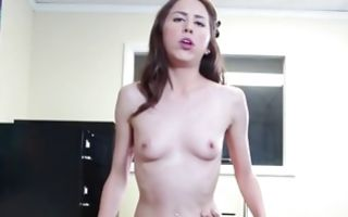 Lola Milano is riding his cock and exposes her small boobs on camera