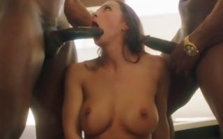 Nasty threesome with naked Abigail Mac and two black men