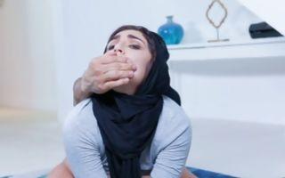 Hot Arabic babe Jezebeth gets her shaved pussy hammered hardcore