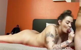 Brunette swallowing her boyfriend's fat dick