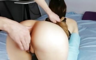 Sexy babe on her knees banged from behind