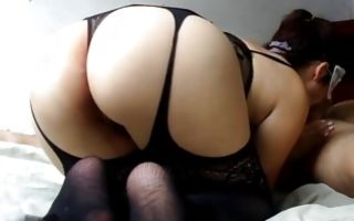 Hot babe with a big round ass blowing his massive erect donger