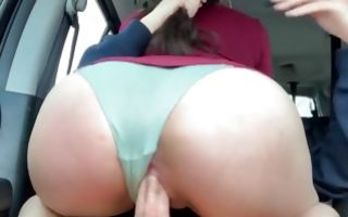 Hot babe with a giant ass and shaved pussy riding a giant erect cock