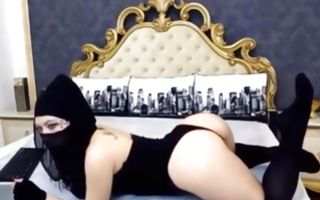 Naughty brunette in hidjab moans loud in homemade webcam posing