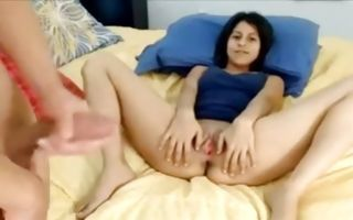 Horny brunette girlfriend takes a facial after rubbing her clit