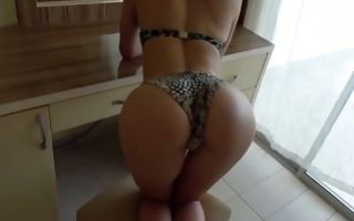 Young pretty blonde in bikini loves getting pussy banged doggystyle