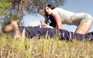 Nasty slut Sophie Garcia sucking big cock of policeman