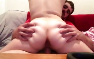 Naughty seductive brunette jerks a big cock and rides hard