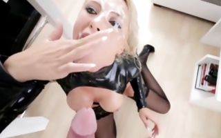 Raunchy blonde in latex gets hardcore dicked and facialed