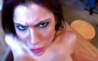 Young brunette ex gf Aleksa Nicole rubs her clit getting dicked