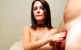 Pierced nipples slut jerking cocks and taking them in mouth