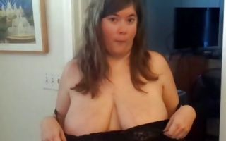Raunchy chubby brunette with big tits sucks and gets some cum