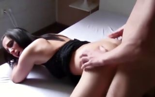 Raunchy brunette gets licked and fucked doggystyle in porn