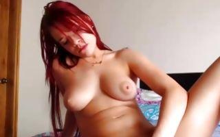 Redhead naughty sucking fake dick before fingering