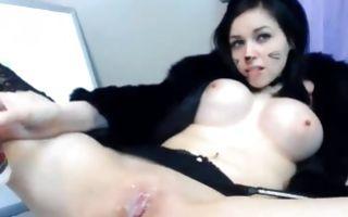 Dark rabbit girl revealing creamy pussy and tight boobs