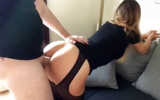 Young amateur slut in hot stockings gets pussy banged
