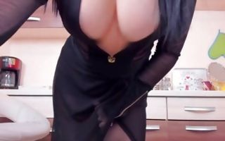 Raunchy brunette milf whore poses in amateur solo porn