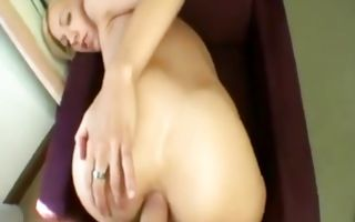 Charming light-haired ex-girlfriend has painful anal sex