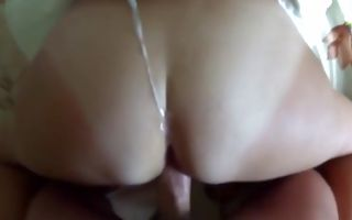 Pretty college girl gets doggystyle dicked and covered with cum