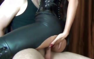 Asian babe in latex fucks a guy with his hands tied